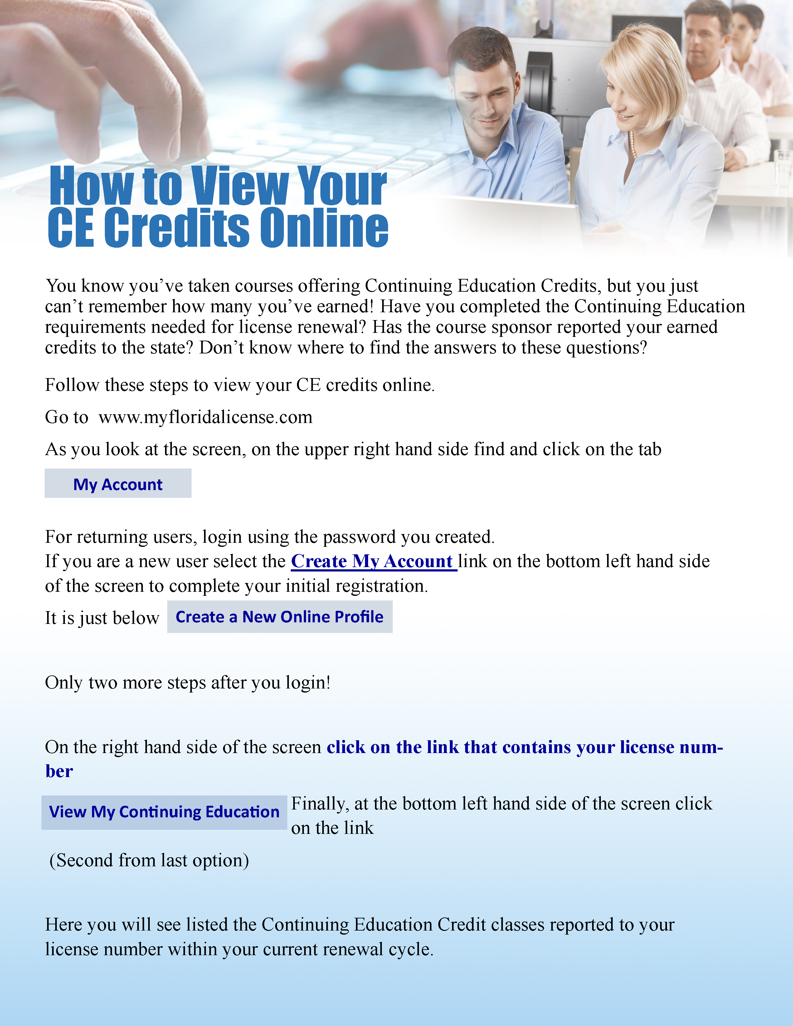 View CE Credits Online